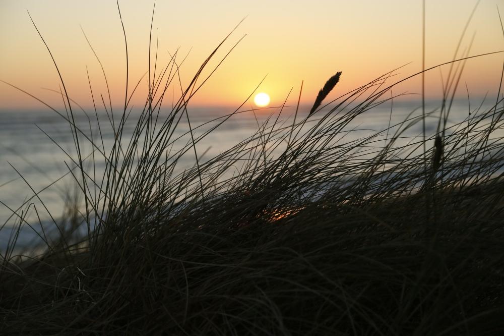 coucher de soleil sur la plage de Vert bois